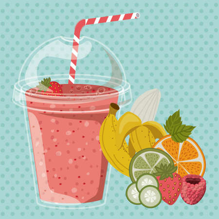 strawberry smoothie: Smoothie design over pointed background, vector illustration Illustration