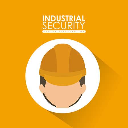 seguridad industrial: Diseño de Seguridad Industrial sobre fondo amarillo, ilustración vectorial