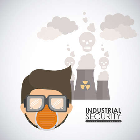 seguridad industrial: Dise�o de Seguridad Industrial sobre el fondo blanco, ilustraci�n vectorial Vectores