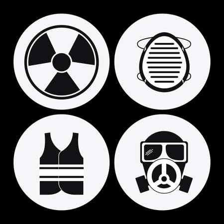 seguridad industrial: Diseño de Seguridad Industrial sobre fondo negro, ilustración vectorial Vectores