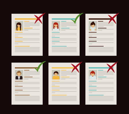 human resources strategy: Human resources design over black background, vector illustration