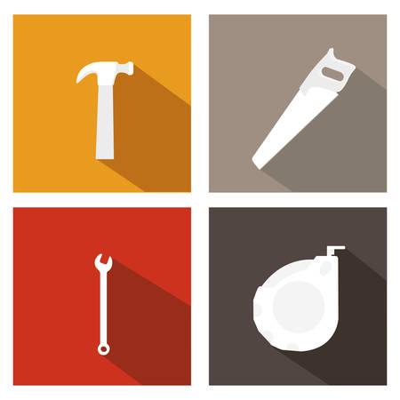 warning saw: Under construction design over white background, vector illustration Illustration
