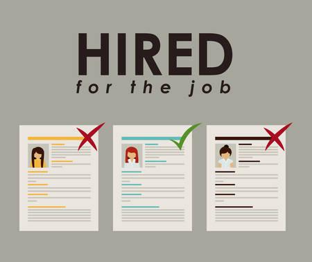 hired: Humain Resources design over grey background, vector illustration Illustration