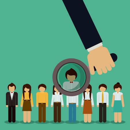 Human Resources design over green background, vector illustration