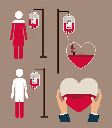 donation: Donate Blood design over brown background, vector illustration