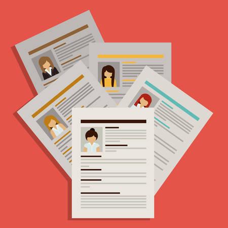 recursos humanos: Diseño de Recursos Humanos sobre el fondo rojo, ilustración vectorial