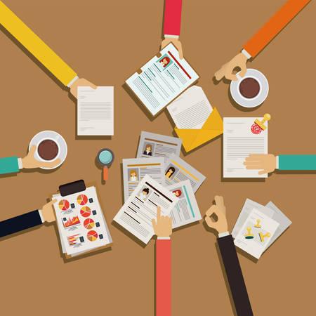 Human Resources design over brown background, vector illustration  イラスト・ベクター素材