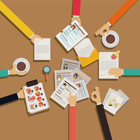 Human Resources design over brown background, vector illustration Illustration