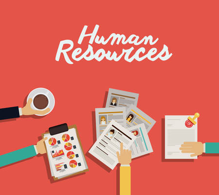document management: Human Resources design over red background, vector illustration