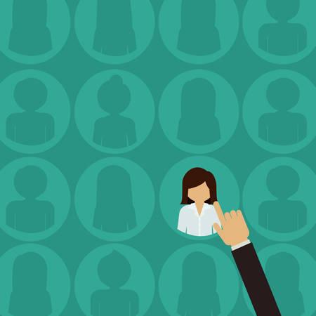 recursos humanos: Diseño de Recursos Humanos sobre el fondo verde, ilustración vectorial Vectores
