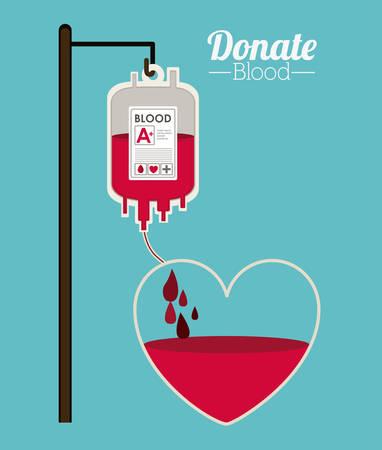 blood transfusion: Donate Blood design over blue background, vector illustration