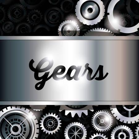 Gears design over black background, vector illustration