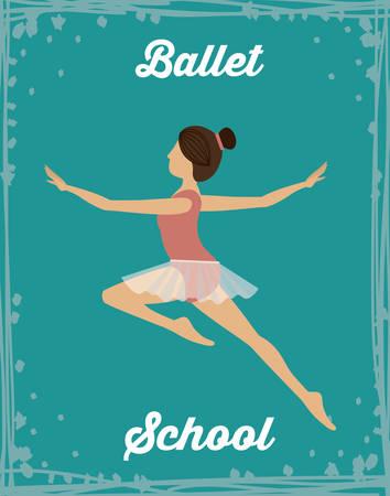 flexible girl: Ballet School design over blue background, vector illustration