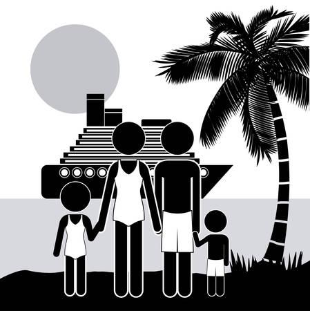 dattelpalme: Familie Design auf wei�em Hintergrund, Vektor-Illustration Illustration