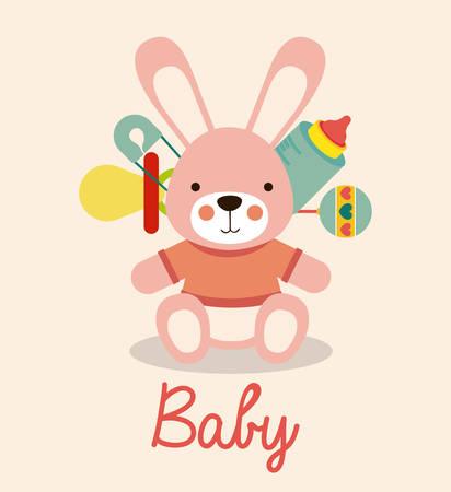 baby shower background: Baby Shower design over pastel pink background, vector illustration Illustration