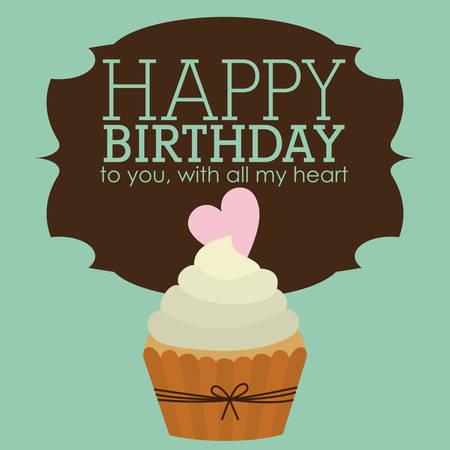 happy birthday heart shapes: Happy Birthday design over green background, vector illustration