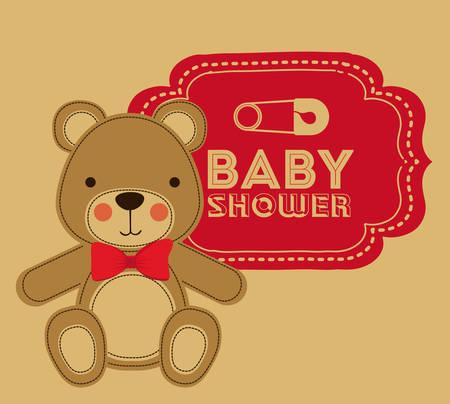 teddy bear background: Baby Shower design over brown background, vector illustration