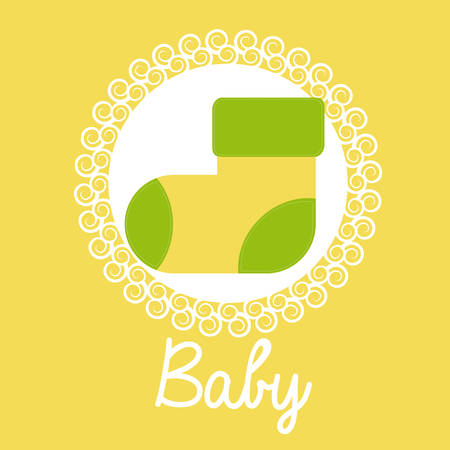 baby shower yellow: Baby Shower design over yellow background, vector illustration Illustration
