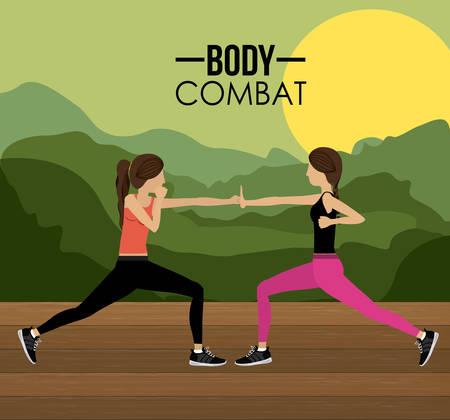 aerobics class: Body Combat design over landscape background, vector illustration