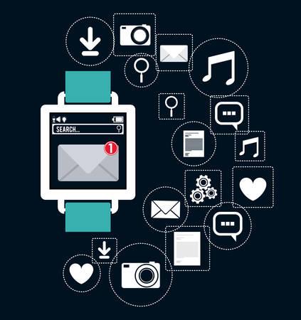 wearable technology design over blue background, vector illustration