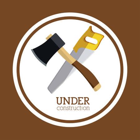 warning saw: Under construction design over brown background, vector illustration