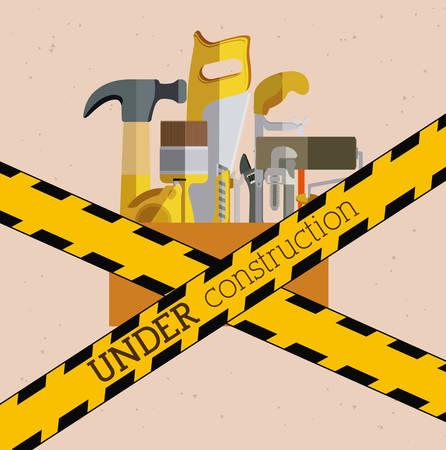 warning saw: Under construction design over pink background, vector illustration