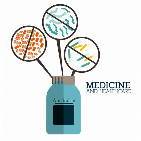 biomedical: Medicine and healthcare design over white background, vector illustration