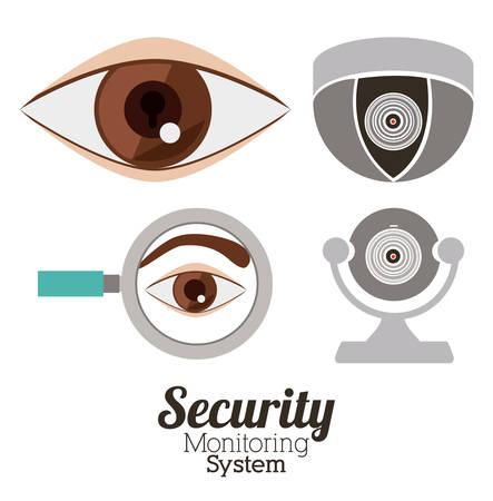 secured: Security system design over white background, vector illustration Illustration