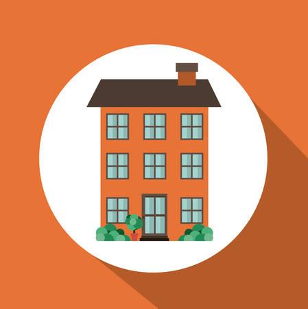home buyer: Real estate design over orange background, vector illustration