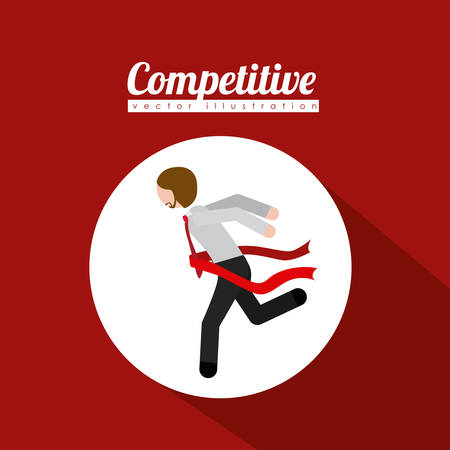 competitive: Competitive design over red background, vector illustration