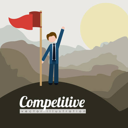 competitive: Competitive design over landscape background, vector illustration