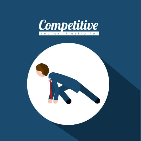 competitive: Competitive design over blue background, vector illustration