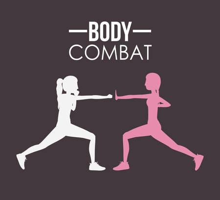 aerobics class: Body Combat design over grey background, vector illustration Illustration