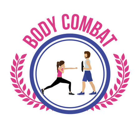 aerobics class: Body Combat design over white background, vector illustration