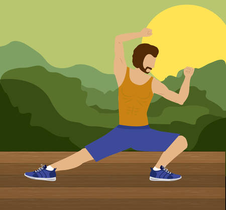 aerobics class: Body Combat design over landscape background, vector illustration