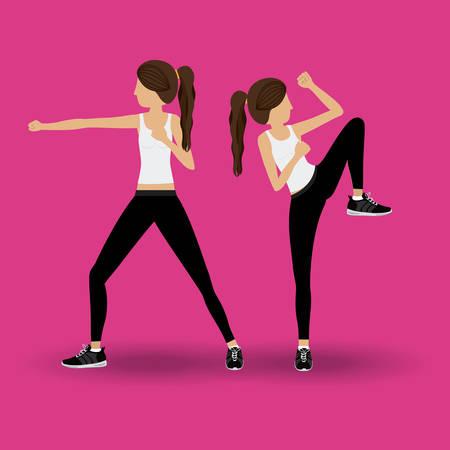 aerobics class: Body Combat design over pink background, vector illustration