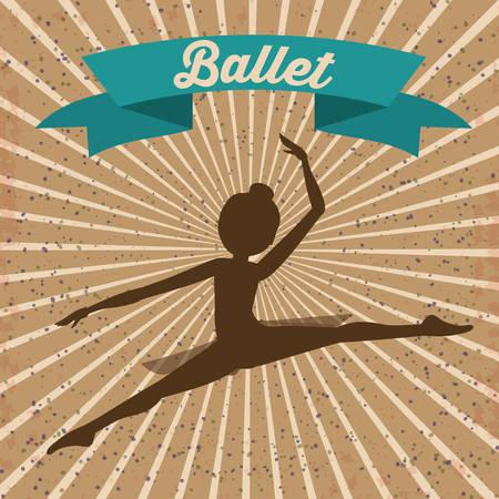 flexible girl: Ballet School design over brown background, vector illustration