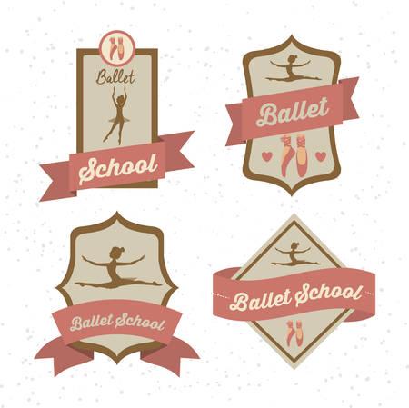 ballet: Dise�o de la Escuela de Ballet sobre fondo blanco, ilustraci�n vectorial