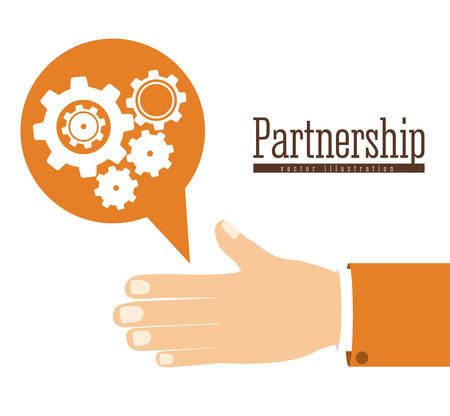 intelligent partnership: Risk free design over white background, vector illustration