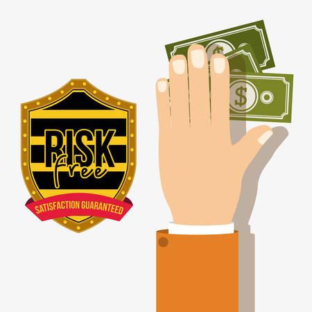 risk free: Risk free design over white background, vector illustration