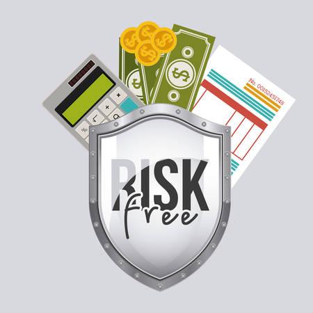 risk free: Risk free design over grey background, vector illustration Illustration