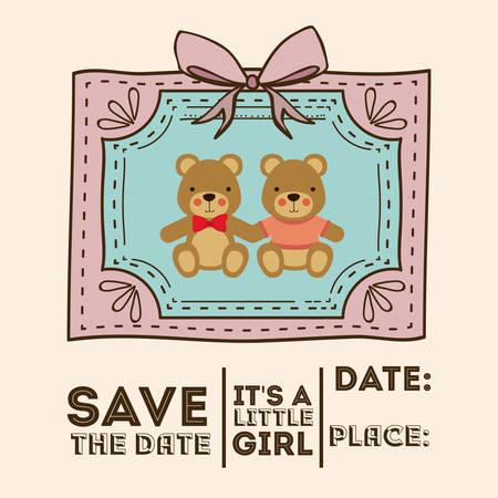 teddy bear background: Baby Shower design over pastel background, vector illustration Illustration