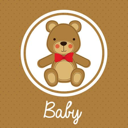 sweet background: Baby Shower design over brown background, vector illustration