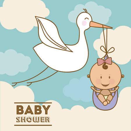 sweet background: Baby Shower  design over blue background, vector illustration