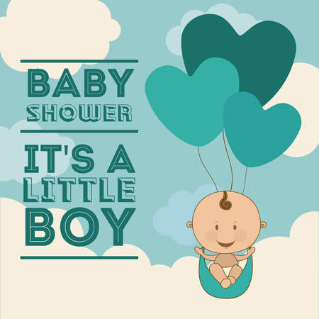 traditional background: Baby Shower  design over blue background, vector illustration