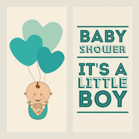 Funny background: Baby Shower  design over white background, vector illustration Illustration