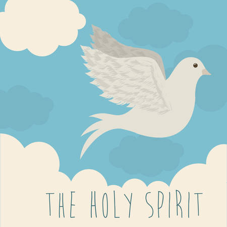 christian prayer: Religious design over blue background, vector illustration