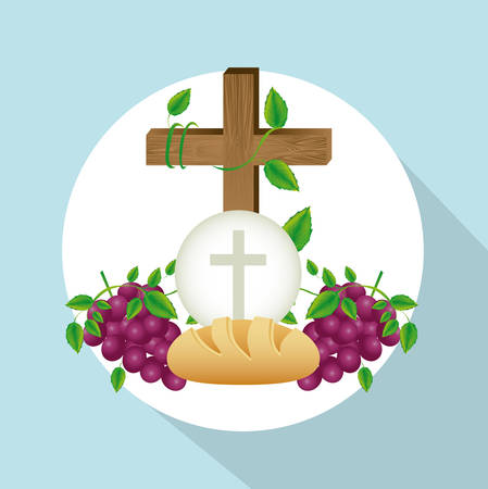 worshipping: Religious design over blue background, vector illustration