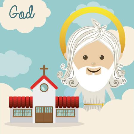 jesus love: Religious design over blue background, vector illustration