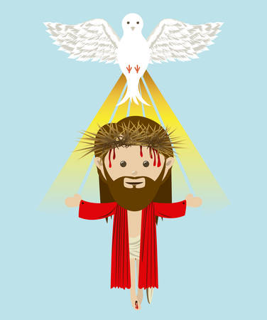 contemplation: Religious design over blue background, vector illustration